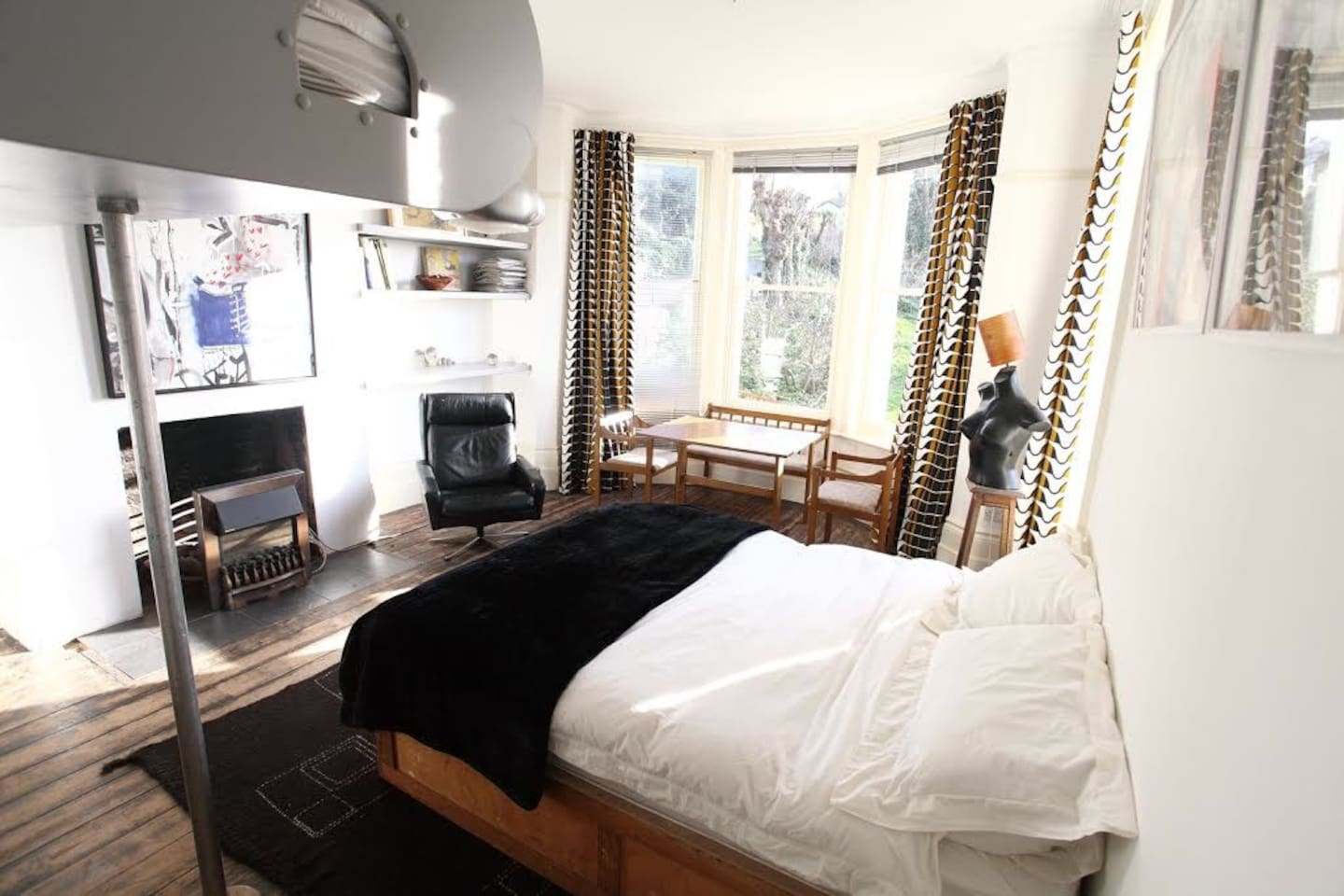 Large double bed, further sleeping for 2 adults or 2 over 5 yr old children just visible in top right hand corner of photo.