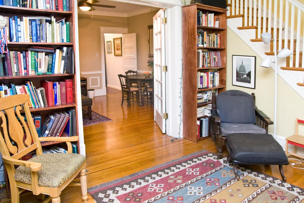 Library, guest suite entrance (thru french doors, which lock)