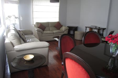This apt is conveniently located in the heart of Miraflores. 1 block from Malecon 28 de Julio. 10 minute walk to el parque del amor, parque Kennedy, el faro (parapente), and Larco Mar. Restaurante Rafael is steps away.