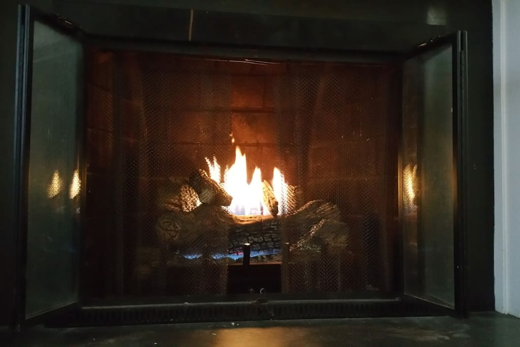 Romantic gas fireplace for cold winter nights