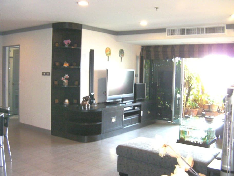Spacious High Tech Living area with Home Theatre system with movies access to Viewing Balcany