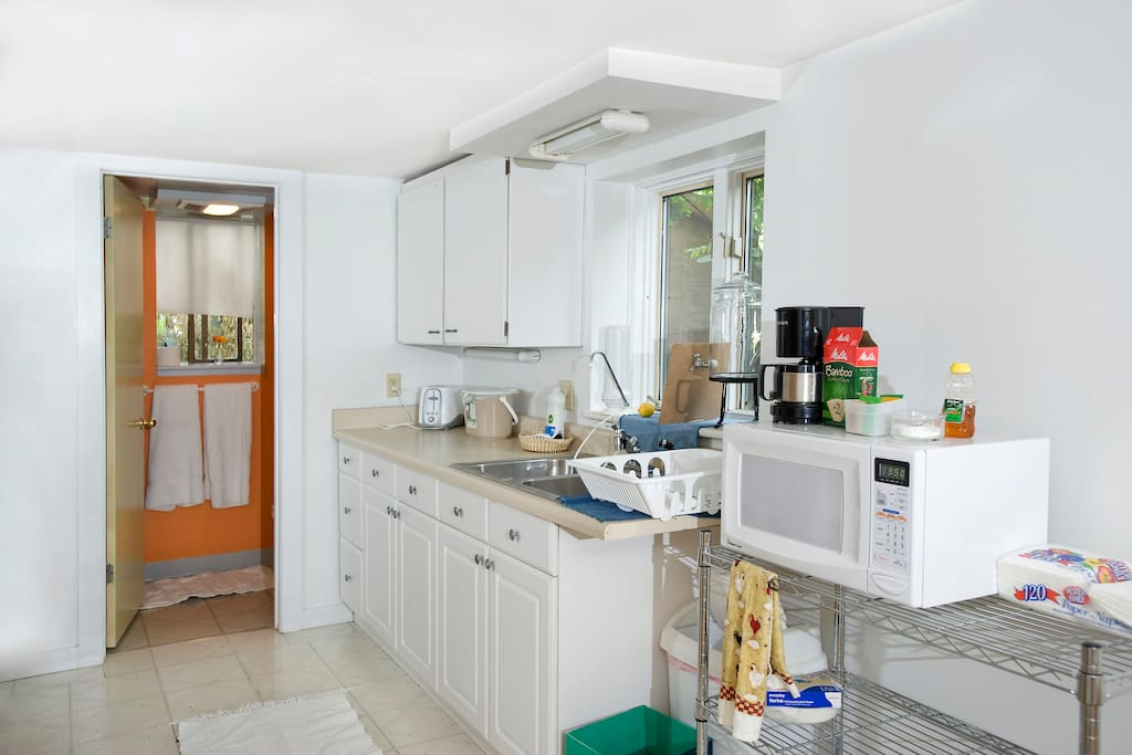 The kitchen has everything you need to do your own cooking.