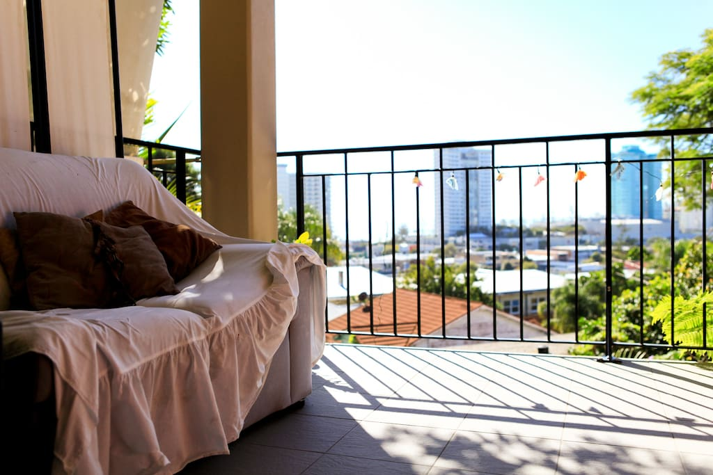 Restful large balcony which overlooks the village and ocean.