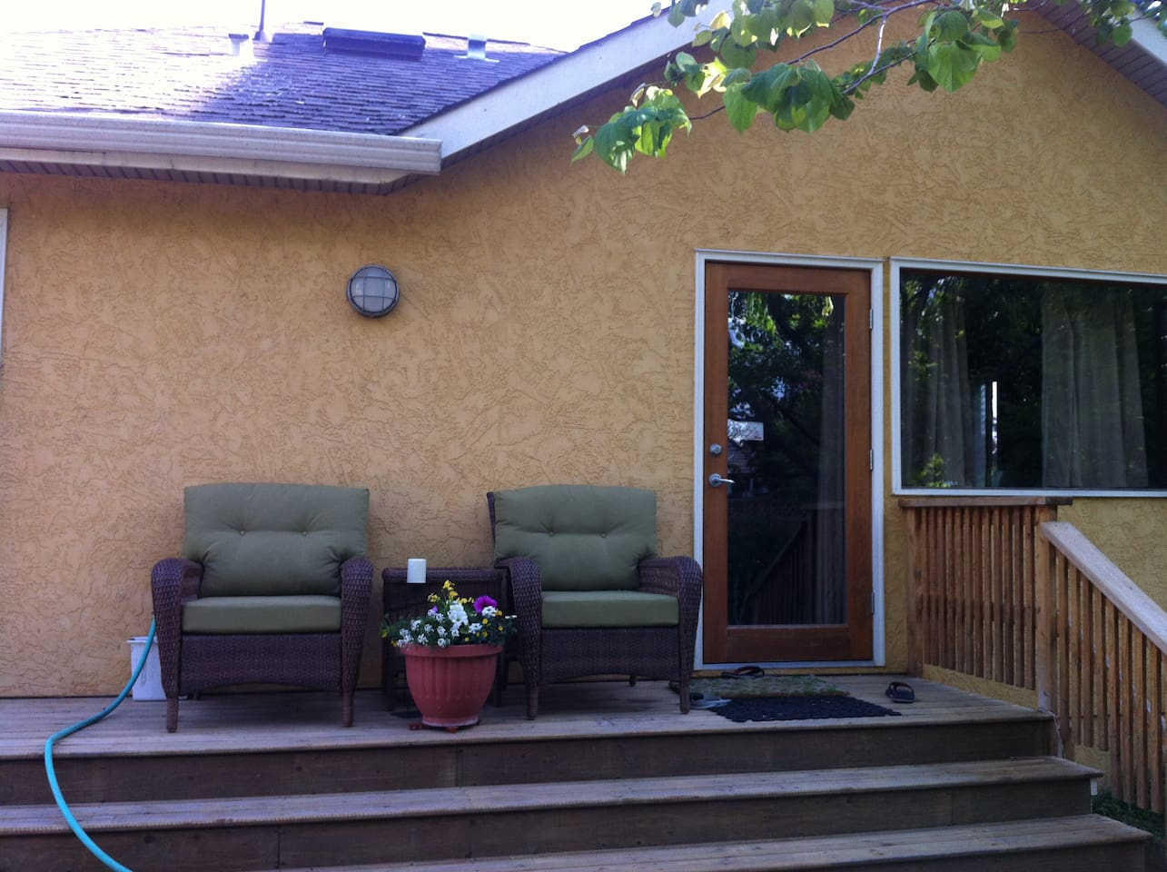 Your private entrance, and comfy deck chairs