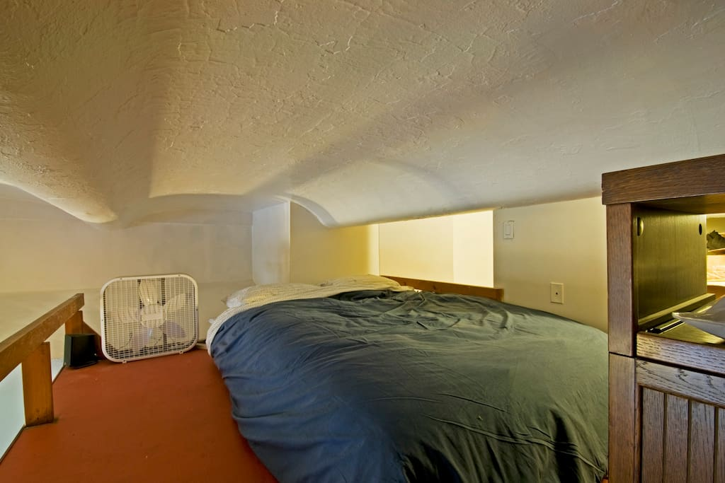 super comfortable queen bed, and linen closet, on the Mez