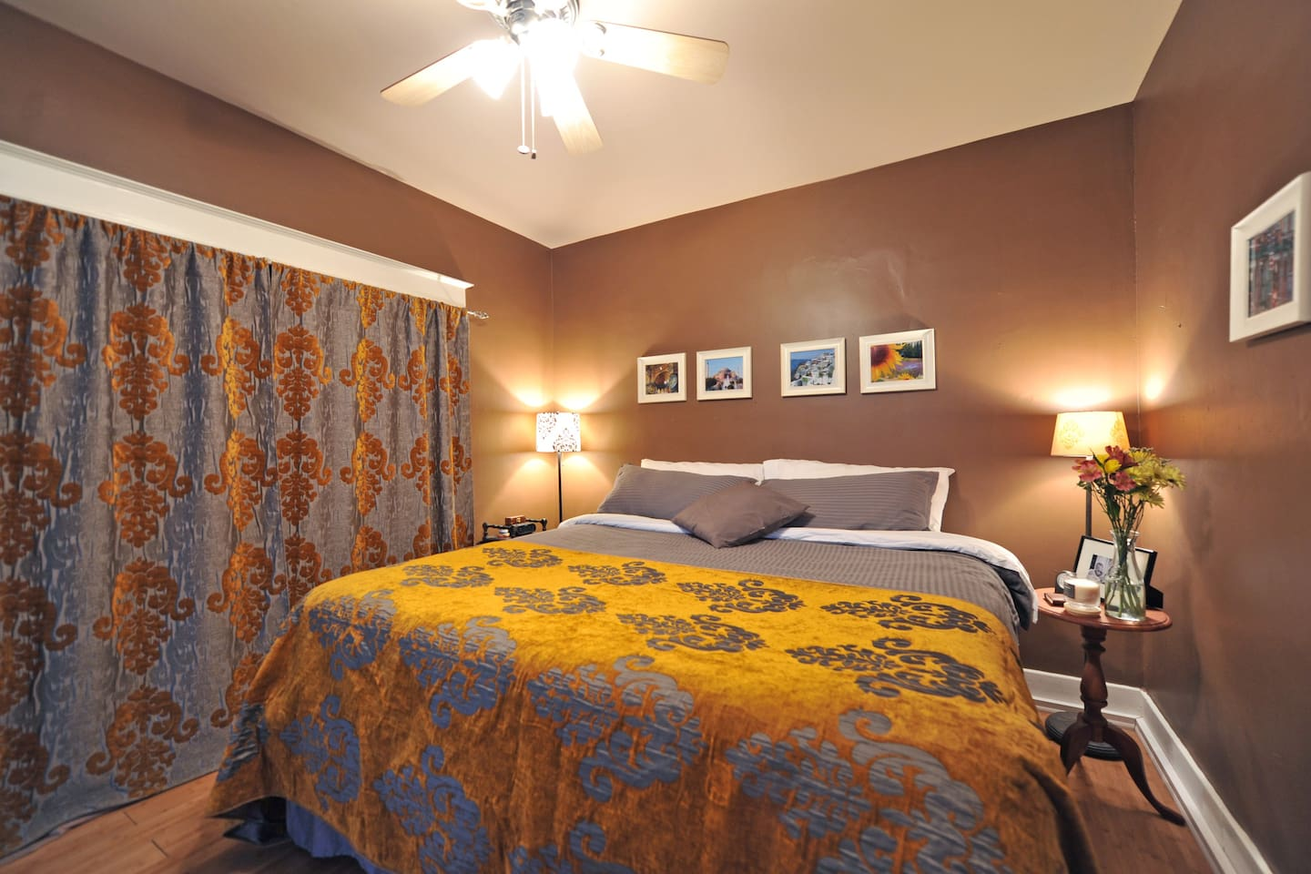Hiding behind the custom made drapes are light blocking curtains so you'll have a nice dark retreat for sleeping.