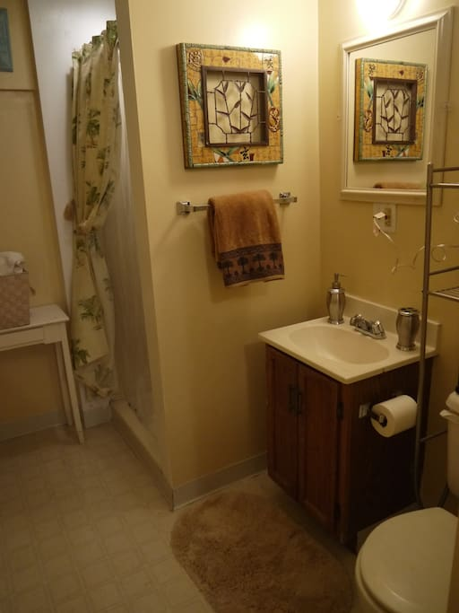 Private bathroom with shower and washer/dryer access.