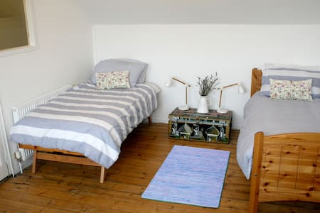 Bright spacious room with twin beds - House