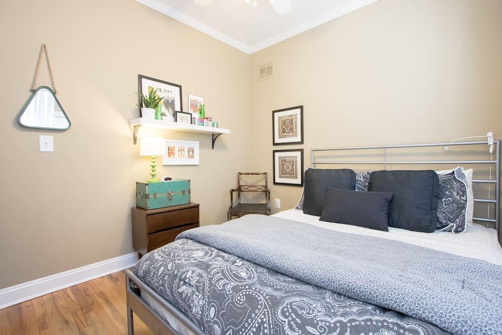 Your bedroom: queen bed
