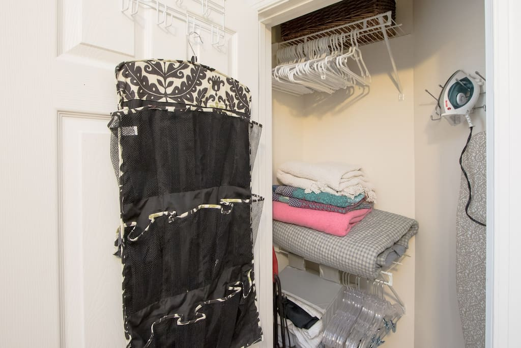Closet: hangers, extra blankets, iron available and lots of storage for shoes etc.