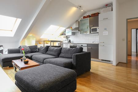 If you are interested to live in an unique and colorful shared penthouse (+elevator) over the roofs of Vienna together with 2 students, you found the right place! Close to the city center (about 10-15min), clean, and a very special, cosy place. :)