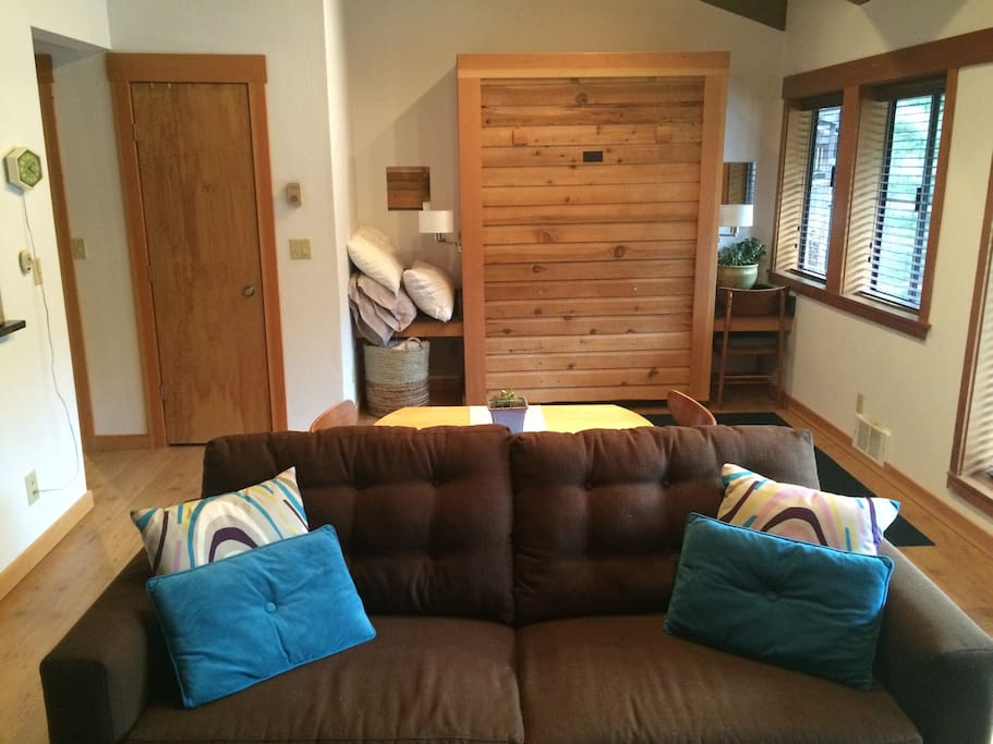 Murphy bed in living room with sofa sleeper