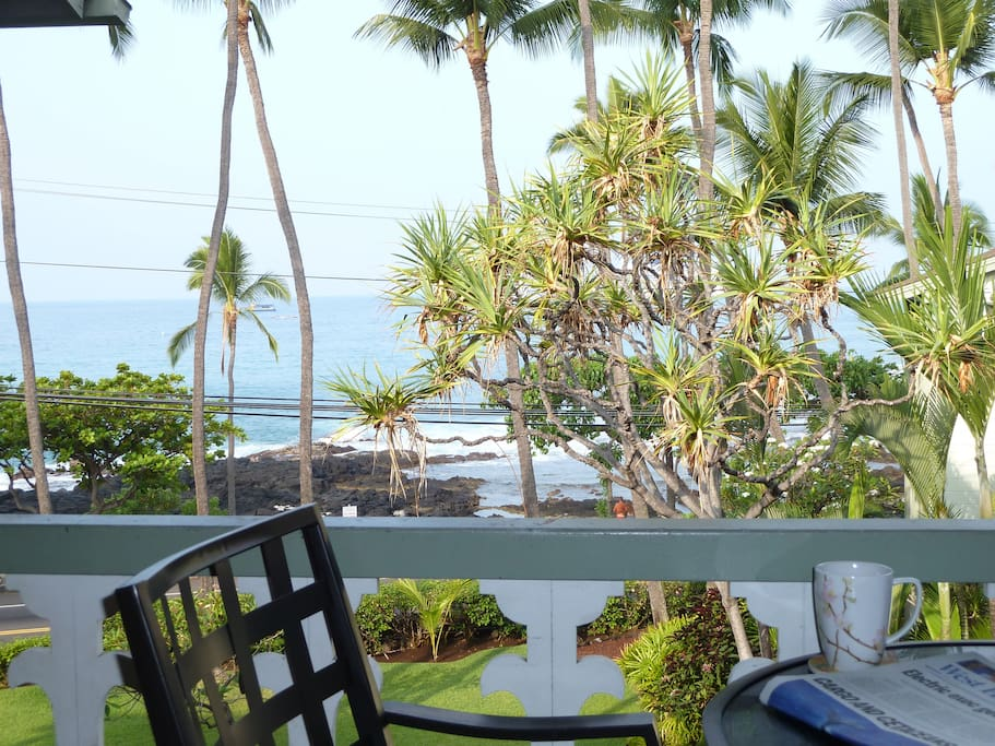 This is the VIEW from your Room!! Centrally located DOWNTOWN KONA. This is the Sunset right from the room