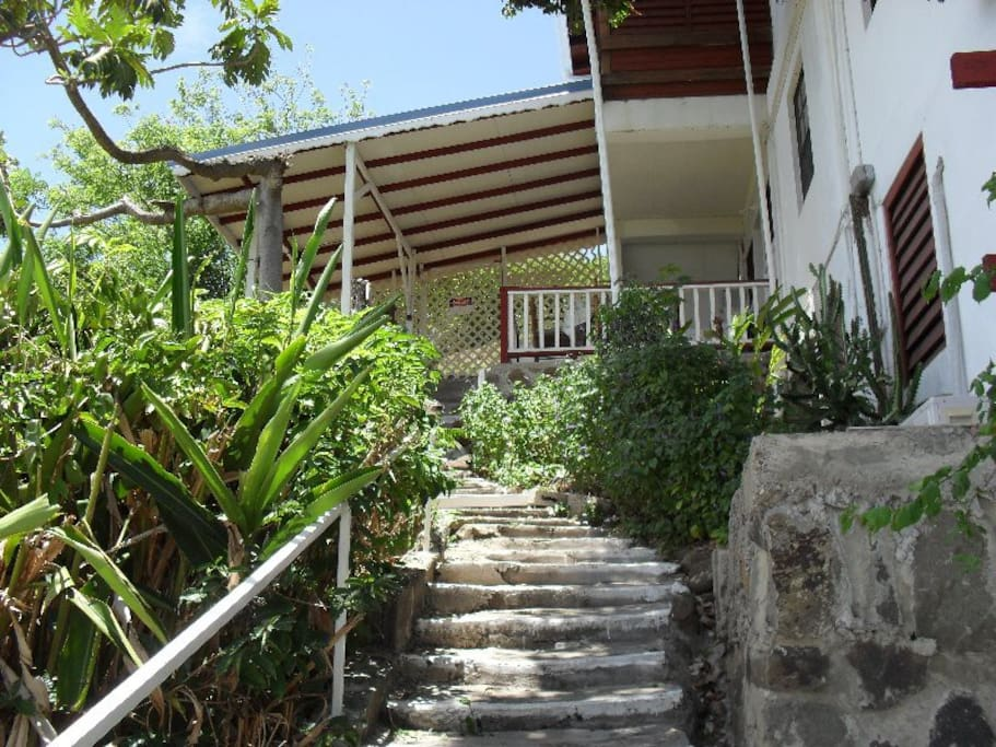 The steps leading to the balcony