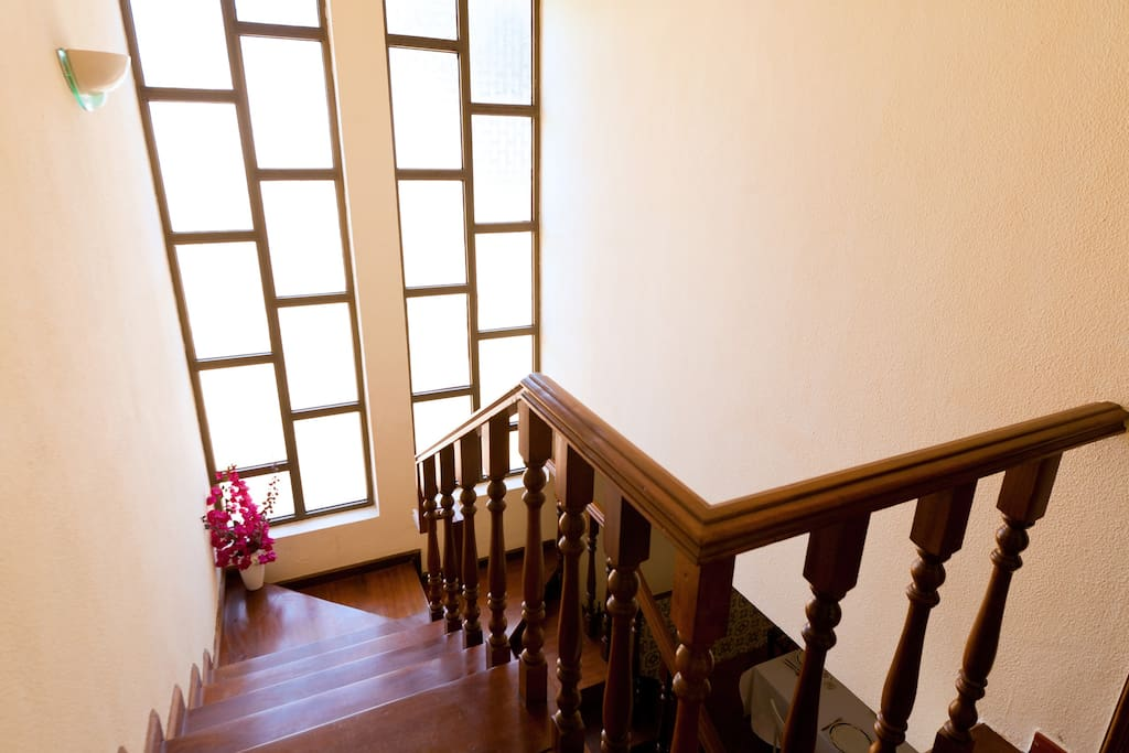 Up stairs to the 3 rooms