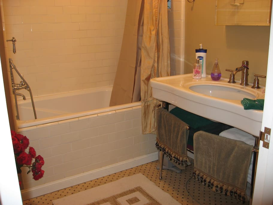Bathroom:  Japanese soking tub with overhead shower.  Sink with lots of flat space.  Towels provided.