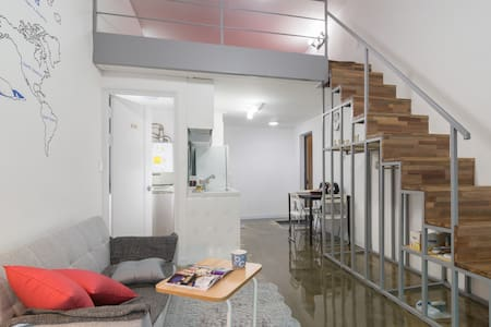 LikeU Studio is located 50 meters from Exit 7 of Hongik Univ. Station on the Seoul subway line 2, AREX line and Gyeongui line. With its pleasant, modern style double-deck studio.  LikeU is not a dorm-style guest houses: our rooms are well separated!
