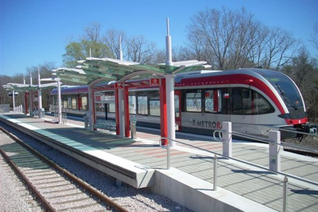 Train stop only blocks away from the house!  Trust me, and it drops you off right at the convention center downtown...trust me, that's the best way to get around during SXSW