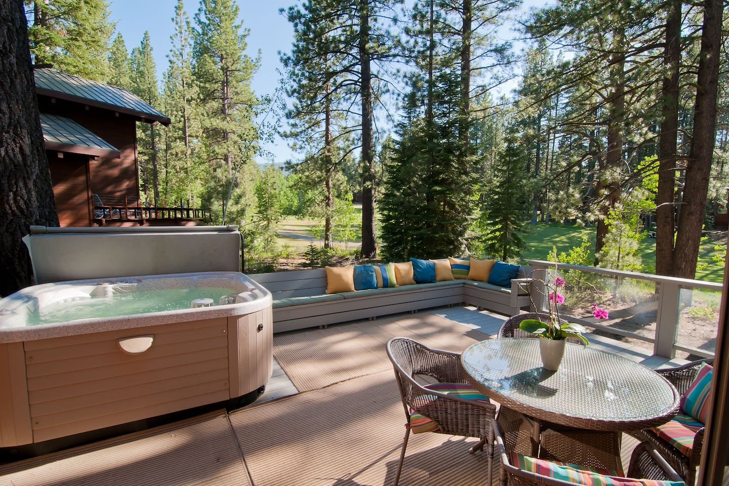 Hot tub on the deck overlooking the golf course.