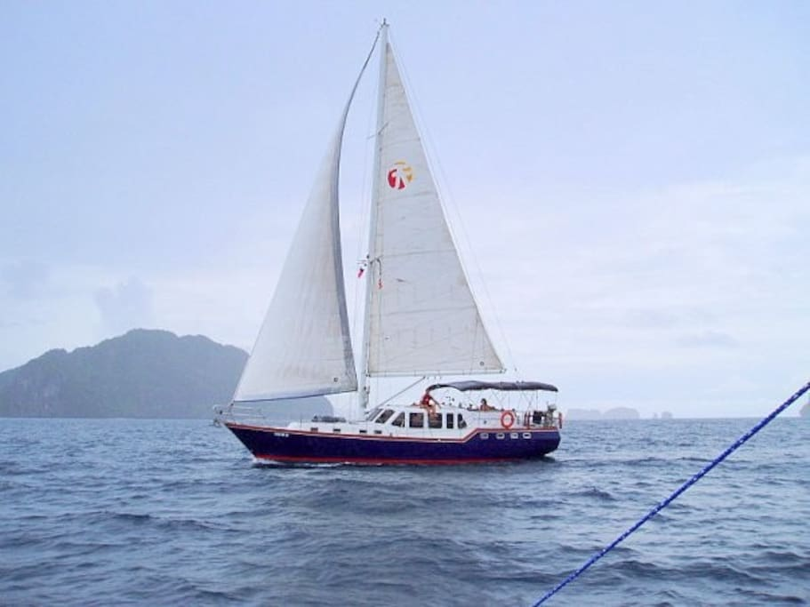 RJM is a Celestial 52' Motor-Sailor seen here cruising in Palawan, Philippines