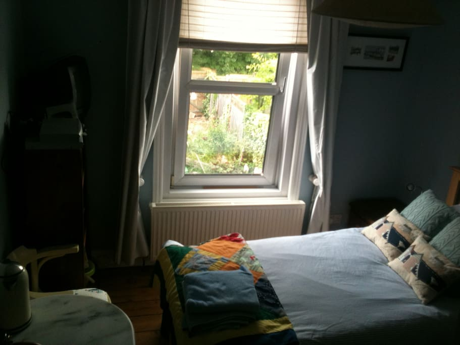 bedroom 2 (2 single beds, can be joined) overlooking garden