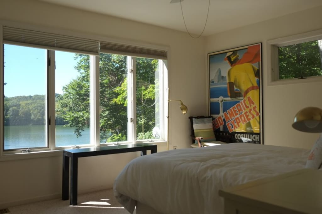 One of the upstairs bedrooms which overlooks the lake