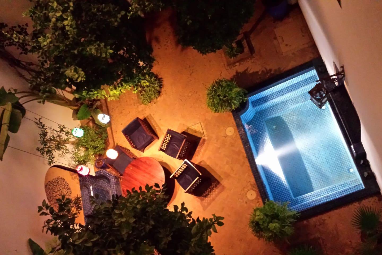 Le patio du Riad Sekkat vu de la terrase