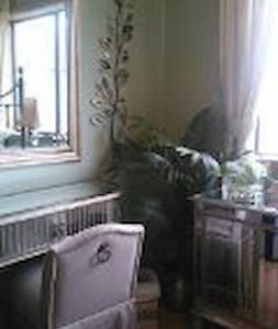 "This bright and lovely single room is very small but comfy. It has a closet with mirror doors and a desk/vanity made of mirrors, cabinet with shelves made of mirrors and a hugh mirror on the wall. Hence, ""The Mirror Room"""