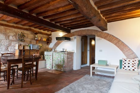 Indipendent apartment next to the medieval tower in the castle of Colle val d'Elsa (Siena). Here you can enjoy a suggestive atmosphere, floors and ceilings are very old, and you can enjoy a wonderful view. Ideal for a couple.