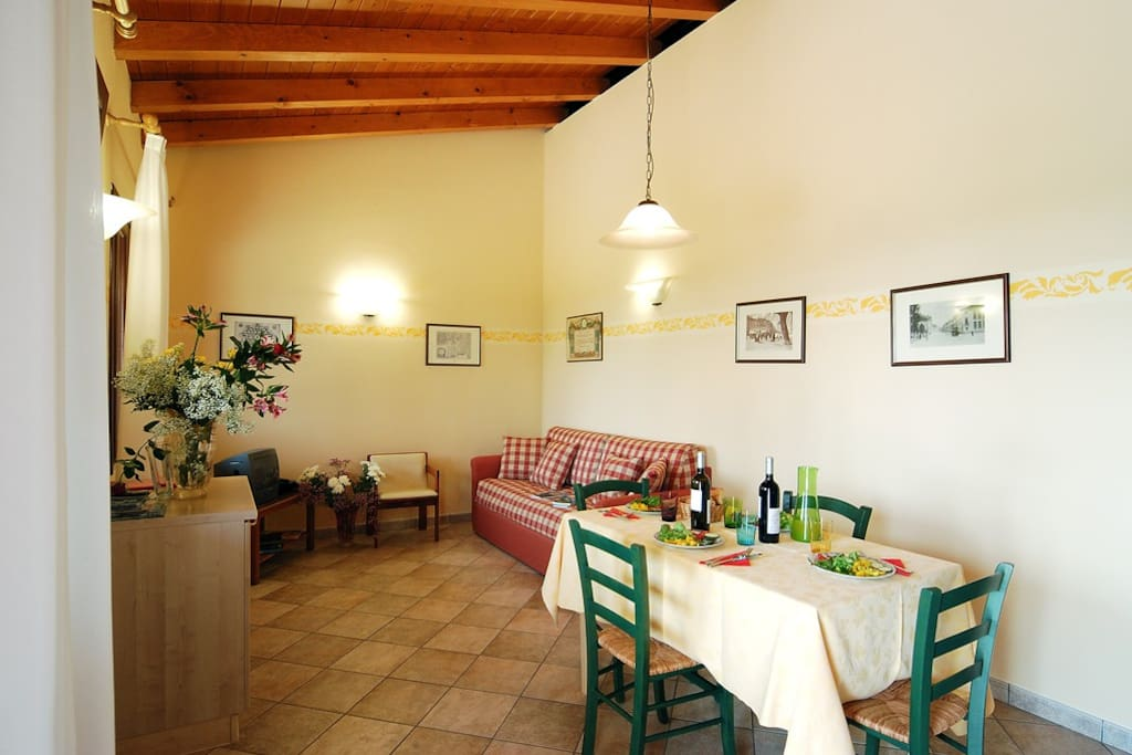 The living room of Masorini with kitchen, double sofa and television