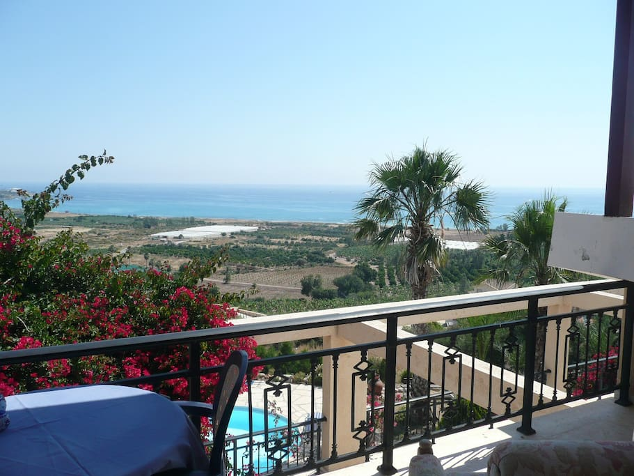 Balcony View overlooking the pool, farms & Mediterranean Sea