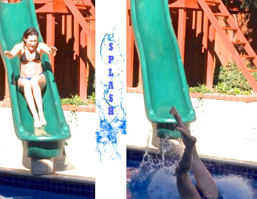 Our new slide adds lots of fun to the newly renovated pool and patio!