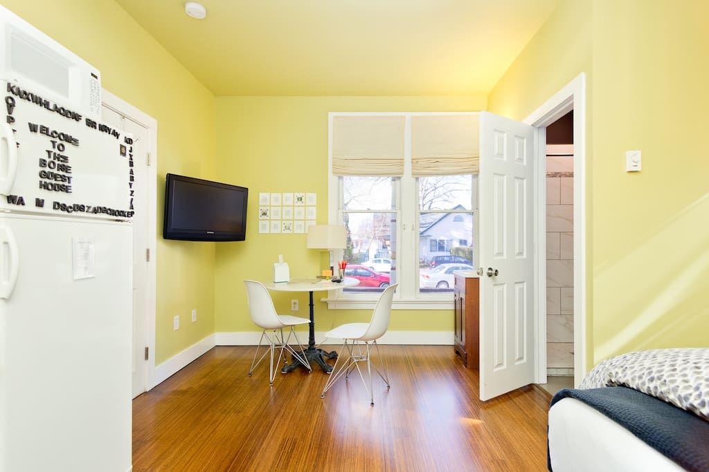 Beautiful new hardwood floors just refinished! A nice sunny place to work by the window. A bistro table and chairs are right outside this suite for indoor / outdoor enjoyment as well. Each suite has a roku box so you can stream media on our televisions.