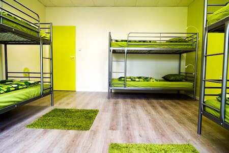Colorful dorm room in a new hostel!