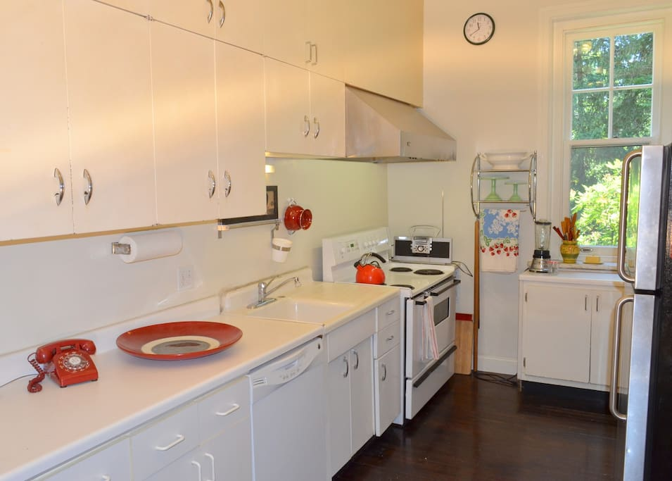 Classic kitchen with extras like a French press and vintage juice squeezer...