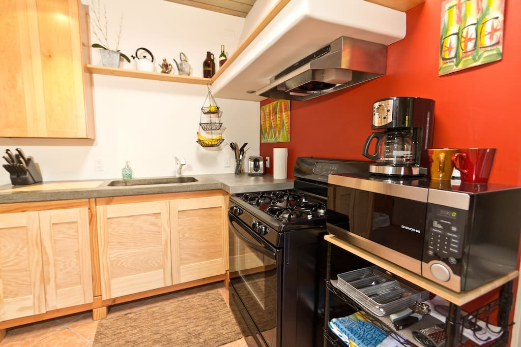 The kitchen features everything you need...fresh fruits and coffee always included too!