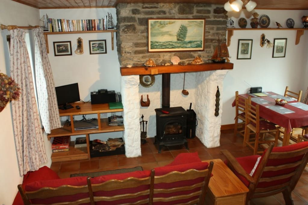 Open plan Living room with solid fuel stove