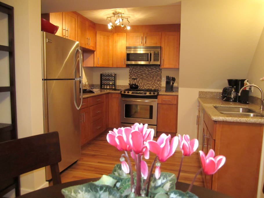 Gourmet kitchen with everything you need...coffee maker, toaster, blender, spices