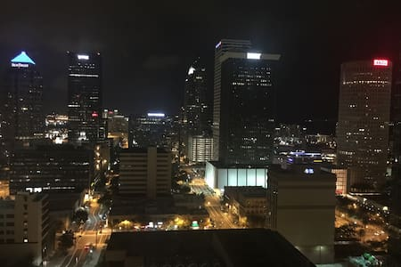 Amazing view on downtown Tampa  Luxury European furnitures Close to the convention center/ Amelie arena / Tampa theater   1 bed  1 sofa-bed  1 bathroom  Wifi  TV  Washer machine  Dryer machine  Dishwasher  iron  Microwave  Owen  Fridge & freezer