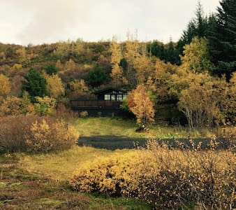 We have a small lovely cabin in Slettuhlid, in a beautiful nature reserve, close to the Reykjavik city center (20 min), the Blue Lagoon (25 min), the Golden Circle, Ishestar, a horse riding,  Krisuvík, geothermal area and many more.