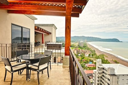 Crocs Penthouse   Situated in the heart of Jaco, near all the action and fun, this gorgeous 2-story penthouse enjoys ocean views from every room in the condo. By far the most spacious of the Crock condominium units.