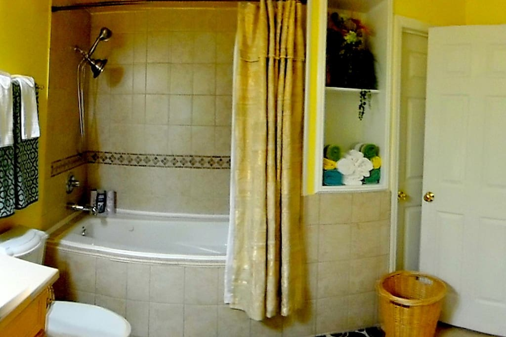 Your Bathroom with double head shower and deep tub,  towels, shampoo, conditioner, liquid body soap, toothpaste, lotion.