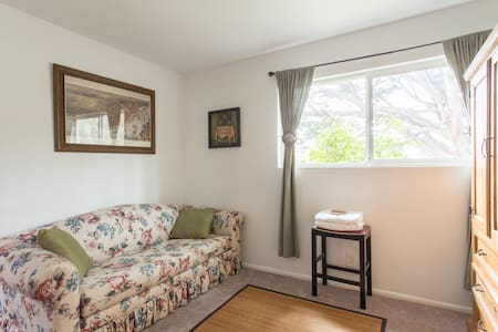 New Orleans-themed room in Aptos, California. 10 miles south of Santa Cruz, but close to shops and restaurants. Full bathroom and house are shared with other listing and me. House is clean but some aspects a tad weathered. Rabbit and 2 cats indoors.
