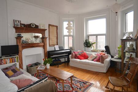 I offer a private quiet room  ideally located in the heart of Mile-End, one of the most vibrant and delightful neighbourhoods in Montreal. Very close to transportation, cafés, bars & shops.