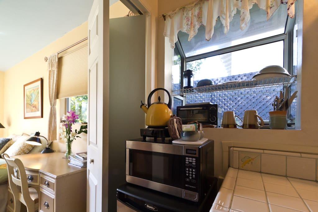 fridge, microwave, hotplate, toaster oven