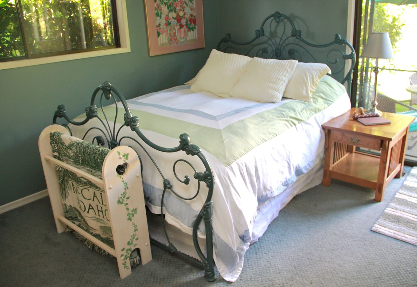 The Garden Room's super-comfy queen-sized bed is getting rave reviews.   Blackout/room-darkening shades let you sleep in!
