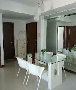 Full furnished with minimalist designed furnitures. Full kitchen set, air conditioner, refrigerator, dining table & chairs, sofa.
