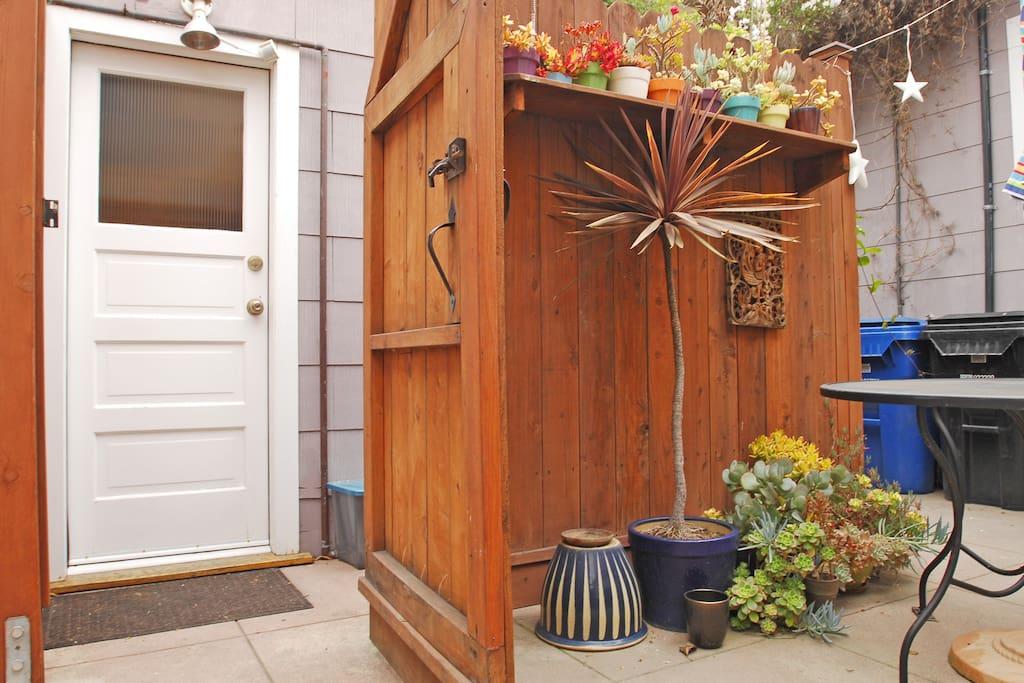 Gate open, your courtyard door.