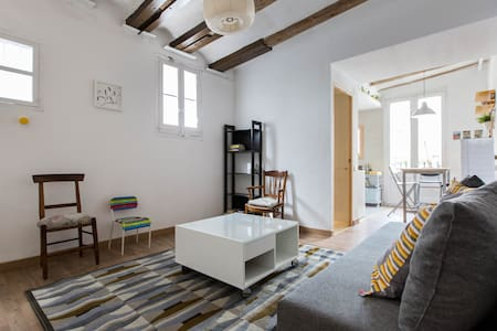 Beautiful fully-remodeled 45 m2 two-bedroom flat on the top floor on a quiet street in the popular old-town Born area of Barcelona, lots of restaurants, bars, parks, close to the Gothic area and the beach, very central and accessible by foot.