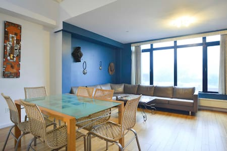 Exclusive use - living room, dining area; terraces and views of sunset. Downtown Brooklyn. 7 minutes to Manhattan.  Excellent restaurants, culture and designer shops - Boreum Hill.  11 subway lines, Barclays Center, waterfront skyscraper view of Manhattan, large parks;  20 mins from Laguardia airport and 35 mins from JFK airport.